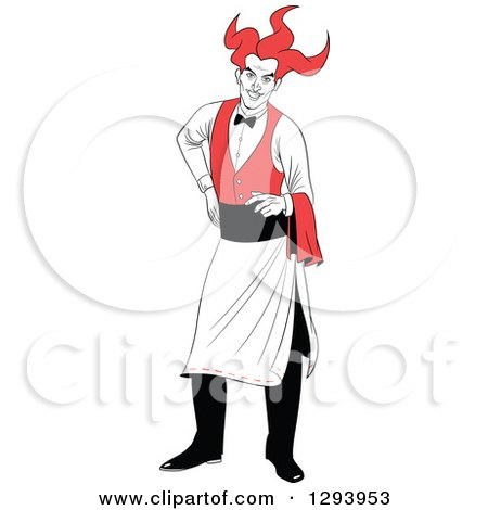 Clipart of a Playing Card Suit Character of a Jolly Joker Waiter - Royalty Free Vector Illustration by Frisko
