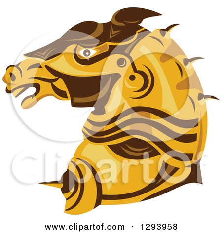 Clipart Of A Retro Armored Horse Head In Profile Royalty Free Vector Illustration