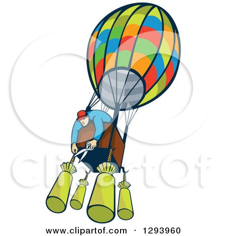 Clipart of a Cartoon White Male Aviator Cutting Bags from a Hot Air Balloon - Royalty Free Vector Illustration by patrimonio