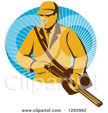 Clipart of a Retro Yellow Male Hunter Holding a Rifle and Emerging from an Oval of Blue Rays - Royalty Free Vector Illustration by patrimonio
