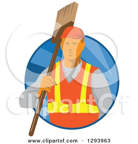 Clipart of a Retro White Male Janitor Holding a Broom over His Shoulder in a Blue Circle of Rays - Royalty Free Vector Illustration by patrimonio