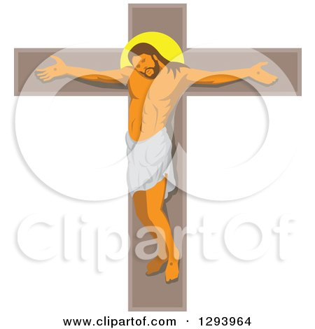 Clipart of Jesus Christ on a Crucifix - Royalty Free Vector Illustration by patrimonio