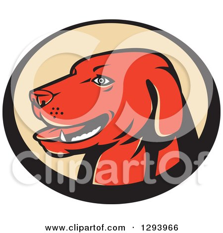 Clipart of a Retro Red Labrador Retriever Head in a Black and Tan Oval - Royalty Free Vector Illustration by patrimonio