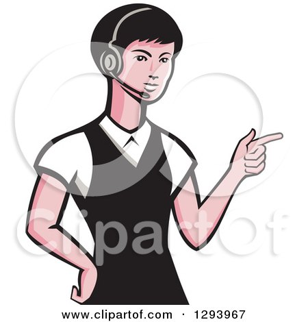 Clipart of a Retro White Female Call Center Worker Pointing and Wearing a Headset - Royalty Free Vector Illustration by patrimonio