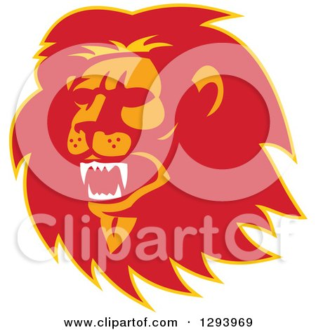 Clipart of a Retro Red Orange and Yellow Roaring Lion Head - Royalty Free Vector Illustration by patrimonio