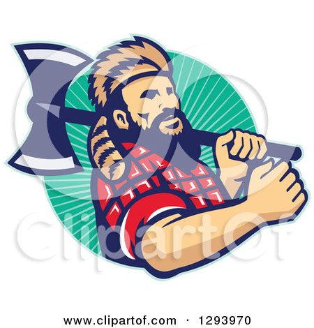 Clipart of a Retro Lumberjack in Plaid and a Raccoon Hat, Holding an Axe over His Shoulder in a Circle of Rays - Royalty Free Vector Illustration by patrimonio