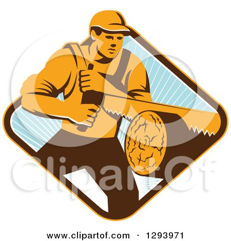 Retro Lumberjack Logger Man Using a Crosscut Saw in a Yellow Brown White and Blue Sunny Diamond Posters, Art Prints