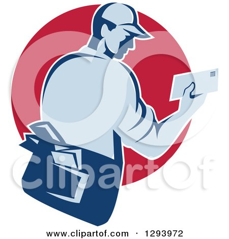 Clipart of a Retro Blue Mailman Holding an Envelope in a Red Circle - Royalty Free Vector Illustration by patrimonio