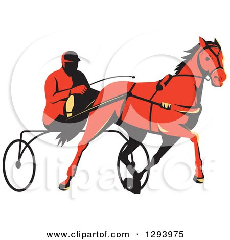 Clipart of a Retro Red Man Horse Harness Racing - Royalty Free Vector Illustration by patrimonio