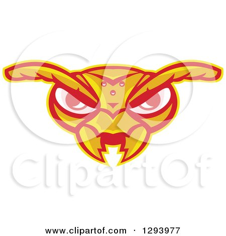 Clipart of a Retro Angry Hornet Face - Royalty Free Vector Illustration by patrimonio