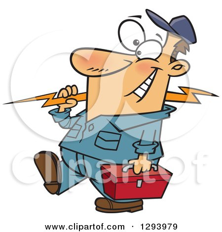 Clipart of a Cartoon Happy White Male Electrician Walking with a Bolt and Tool Box - Royalty Free Vector Illustration by toonaday