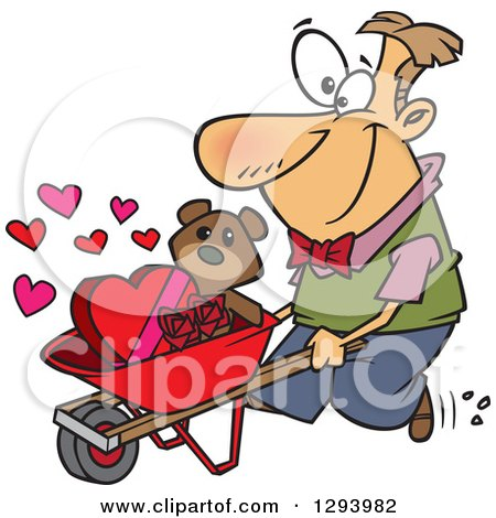 Clipart Of A Cartoon Happy White Man Pushing A Valentines Day Teddy Bear Roses And Candy In A Wheelbarrow Royalty Free Vector Illustration