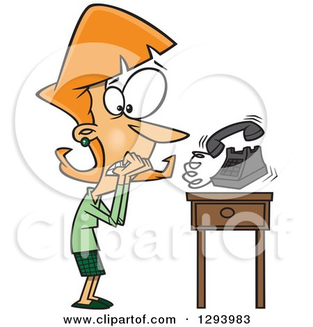 Clipart of a Cartoon Red Haired White Woman with Phonephobia, Shaking by a Ringing Telephone - Royalty Free Vector Illustration by toonaday
