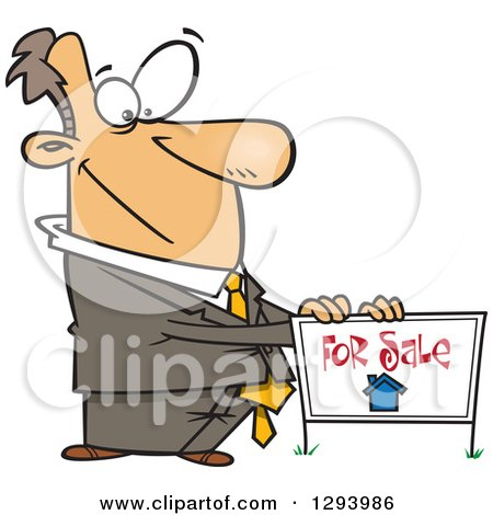Clipart of a Cartoon Pleasant White Male Real Estate Agent Listing a Home for Sale with a Sign - Royalty Free Vector Illustration by toonaday