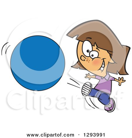 Clipart of a Cartoon Happy Brunette White Girl Kicking a Ball or Circle - Royalty Free Vector Illustration by toonaday