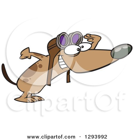 Clipart of a Cartoon Brown Pilot Dog Wearing Goggles and Peering Excitedly to the Right - Royalty Free Vector Illustration by toonaday
