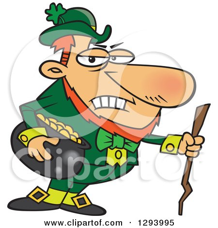 Clipart Of A Cartoon Grouchy Leprechaun Holding A Pot Of Gold And A Stick Royalty Free Vector Illustration