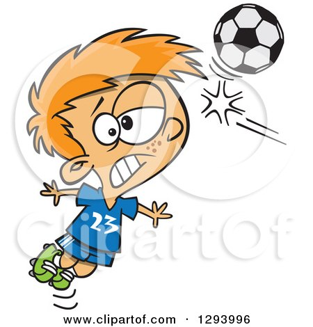 Clipart of a Cartoon Red Haired White Boy Heading a Soccer Ball - Royalty Free Vector Illustration by toonaday
