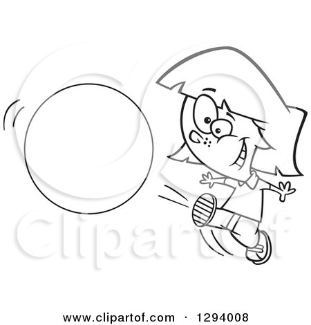 Lineart Clipart Of A Black And White Cartoon Happy Girl Kicking A