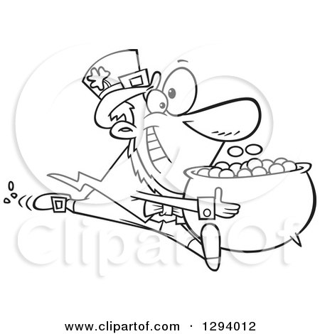 Lineart Clipart of a Black and White Cartoon Happy Leprechaun Sprinting with His Pot of Gold Coins - Royalty Free Outline Vector Illustration by toonaday