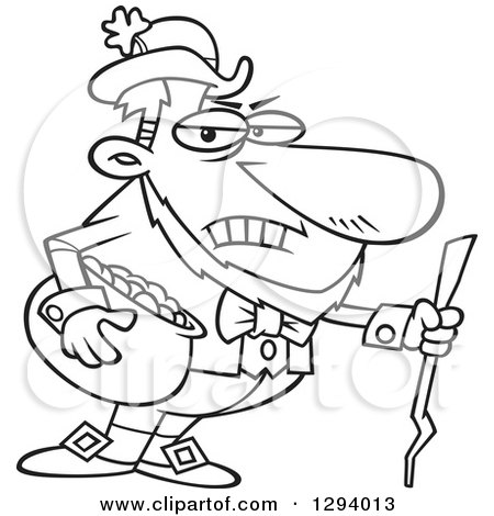 Lineart Clipart of a Black and White Cartoon Grouchy Leprechaun Holding a Pot of Gold and a Stick - Royalty Free Outline Vector Illustration by toonaday