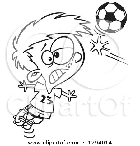 Lineart Clipart of a Black and White Cartoon Boy Heading a Soccer Ball - Royalty Free Outline Vector Illustration by toonaday