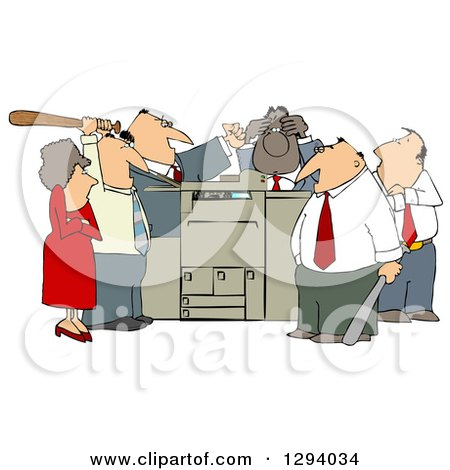 Clipart Of A Frustrated White And Black Employee Office Mob Gathered Around A Copy Machine Or Printer With Baseball Bats Royalty Free Illustration