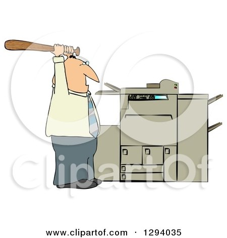 Clipart of a Frustrated Caucasian Businessman Holding a Bat up over a Copy Machine or Printer - Royalty Free Illustration by djart