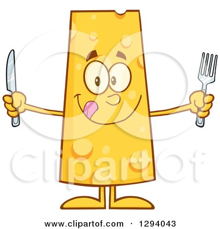 Clipart of a Cartoon Hungry Cheese Character Holding a Knife and Fork - Royalty Free Vector Illustration by Hit Toon