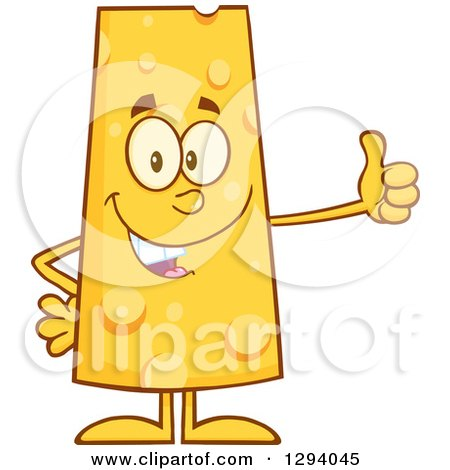 Clipart of a Cartoon Happy Cheese Character Giving a Thumb up - Royalty Free Vector Illustration by Hit Toon