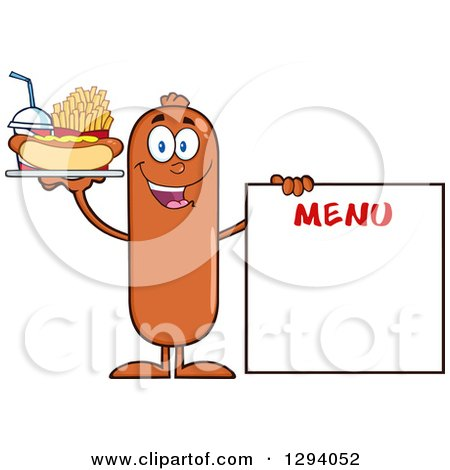Clipart of a Cartoon Happy Sausage Character with a Hot Dog, Fries and Soda by a Menu Board - Royalty Free Vector Illustration by Hit Toon
