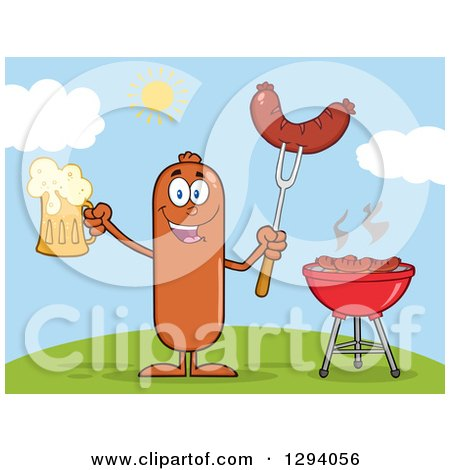 Clipart of a Cartoon Happy Sausage Character Holding a Beer and Meat on a Bbq Fork by a Grill on a Hill - Royalty Free Vector Illustration by Hit Toon