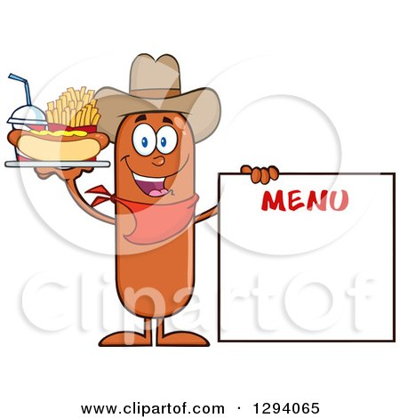 Clipart of a Cartoon Happy Sausage Cowboy Character with a Hot Dog, Fries and Soda by a Menu Board - Royalty Free Vector Illustration by Hit Toon