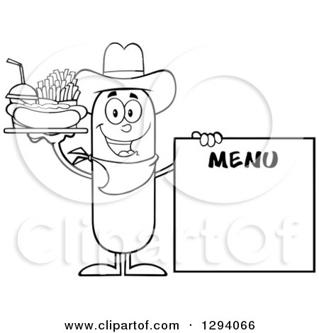 Clipart of a Cartoon Black and White Happy Sausage Cowboy Character with a Hot Dog, Fries and Soda by a Menu Board - Royalty Free Vector Illustration by Hit Toon