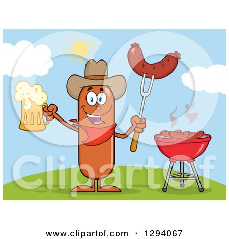 Clipart of a Cartoon Happy Sausage Cowboy Character Holding a Beer and Meat on a Bbq Fork by a Grill on a Hill - Royalty Free Vector Illustration by Hit Toon