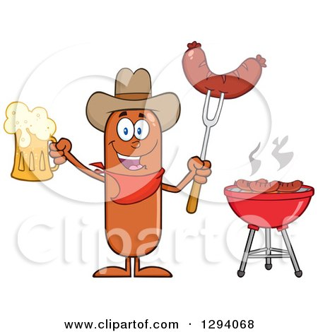 Clipart of a Cartoon Happy Sausage Cowboy Character Holding a Beer and Meat on a Bbq Fork by a Grill - Royalty Free Vector Illustration by Hit Toon