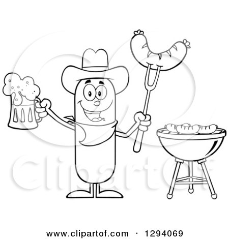 Clipart of a Cartoon Black and White Happy Sausage Cowboy Character Holding a Beer and Meat on a Bbq Fork by a Grill - Royalty Free Vector Illustration by Hit Toon