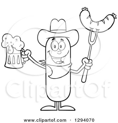 Clipart of a Cartoon Black and White Happy Sausage Cowboy Character Holding a Beer and Meat on a Bbq Fork - Royalty Free Vector Illustration by Hit Toon