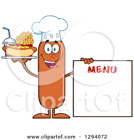Clipart of a Cartoon Happy Sausage Chef Character with a Hot Dog, Fries and Soda by a Menu Board - Royalty Free Vector Illustration by Hit Toon
