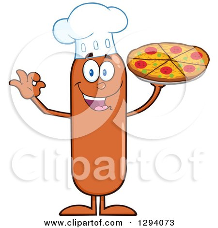Clipart of a Cartoon Happy Sausage Chef Character Holding up a Pizza - Royalty Free Vector Illustration by Hit Toon