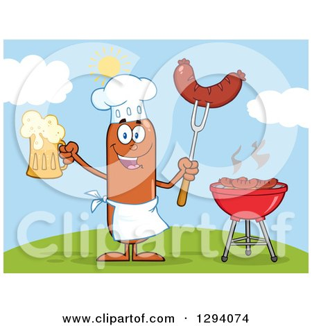Clipart of a Cartoon Happy Sausage Chef Character Holding a Beer and Meat on a Bbq Fork by a Grill on a Hill - Royalty Free Vector Illustration by Hit Toon