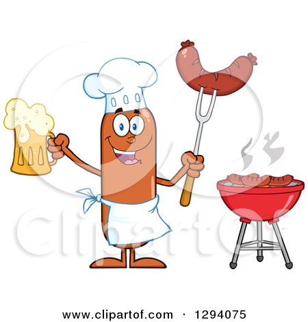 Clipart of a Cartoon Happy Sausage Chef Character Holding a Beer and Meat on a Bbq Fork by a Grill - Royalty Free Vector Illustration by Hit Toon