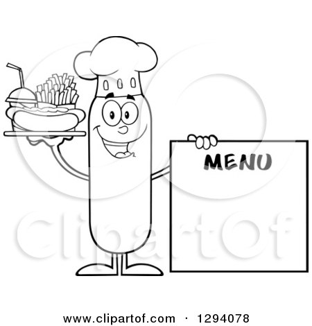 Clipart of a Cartoon Black and White Happy Sausage Chef Character with a Hot Dog, Fries and Soda by a Menu Board - Royalty Free Vector Illustration by Hit Toon