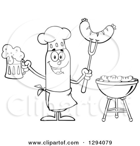 Clipart of a Cartoon Black and White Happy Sausage Chef Character Holding a Beer and Meat on a Bbq Fork by a Grill - Royalty Free Vector Illustration by Hit Toon