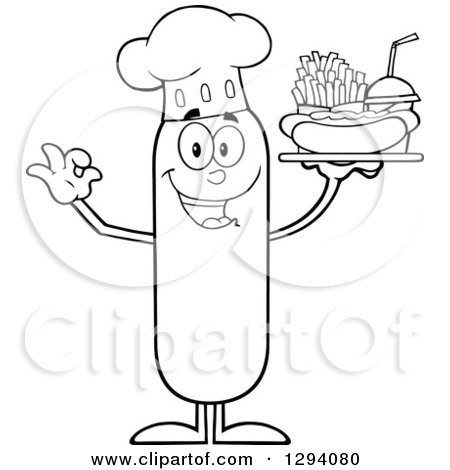 Clipart of a Cartoon Black and White Happy Sausage Chef Character Holding a Hot Dog, French Fries and Soda on a Tray - Royalty Free Vector Illustration by Hit Toon