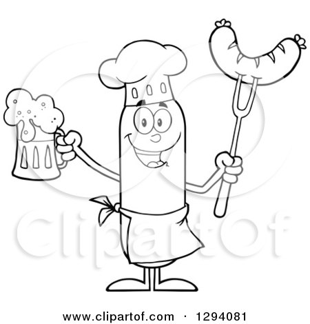 Clipart of a Cartoon Black and White Happy Sausage Chef Character Holding a Beer and Meat on a Bbq Fork - Royalty Free Vector Illustration by Hit Toon