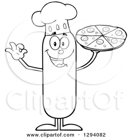 Clipart of a Cartoon Black and White Happy Sausage Chef Character Holding up a Pizza - Royalty Free Vector Illustration by Hit Toon
