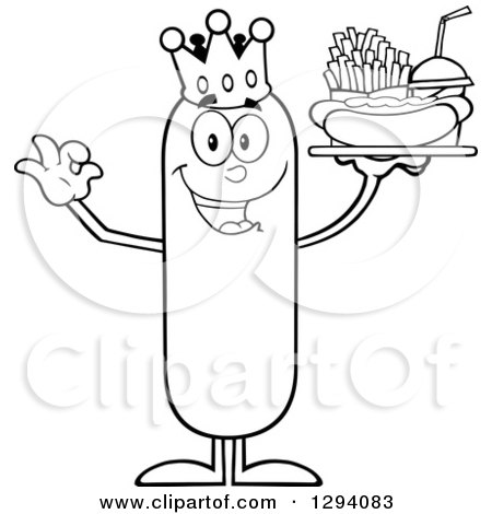 Clipart of a Cartoon Black and White Happy Sausage King Character Holding a Hot Dog, French Fries and Soda on a Tray and Gesturing Ok - Royalty Free Vector Illustration by Hit Toon