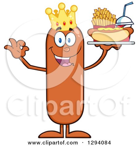 Clipart of a Cartoon Happy Sausage King Character Holding a Hot Dog, French Fries and Soda on a Tray and Gesturing Ok - Royalty Free Vector Illustration by Hit Toon