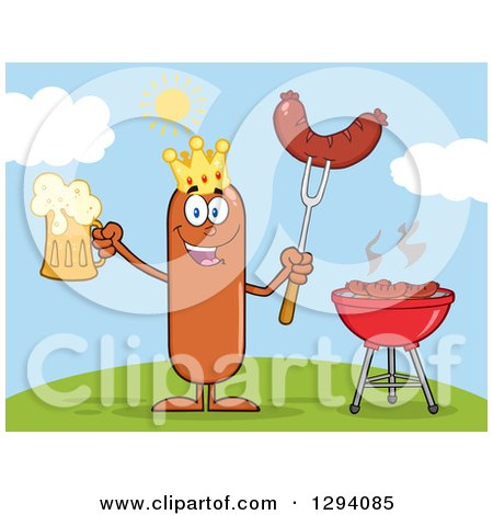 Clipart of a Cartoon Happy Sausage King Character Holding a Beer and Meat on a Bbq Fork by a Grill on a Hill - Royalty Free Vector Illustration by Hit Toon